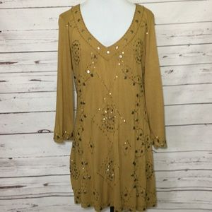 Boho Tunic Blouse with Bead/Metal Embellished Top
